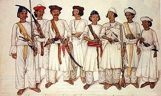 Anglo-Nepalese War - Gorkhali soldiers in 1815.