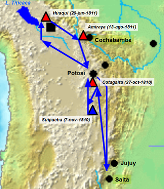 First Upper Peru campaign - Path of the Military campaign. The blue mark is for patriot victories (Suipacha), the red mark for royalist victories (Cotagaita, Huaqui and Amiraya)