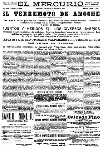 1906 Valparaíso earthquake - El Mercurio newspaper on 17 August 1906, reporting the earthquake of the day before