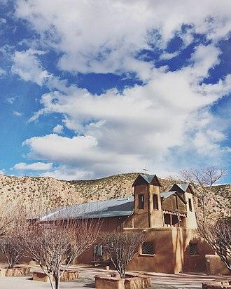 El Santuario de Chimayo - El Santuario from the front courtyard in February.