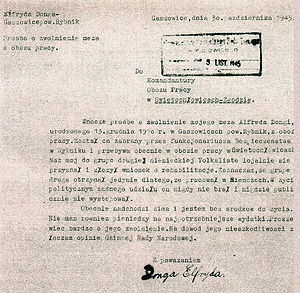 Zgoda labour camp - A plea by a Polish woman asking for the release of her husband from Zgoda. He was a civilian from Upper Silesia forced to sign a DVL list and sent to Nazi Germany for slave labor (from the IPN archives)