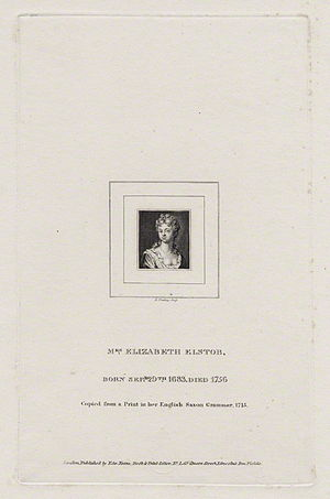 Elizabeth Elstob - Elizabeth Elstob by Burnet Reading (by 1838)