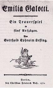 Emilia Galotti, Titelblatt der Erstausgabe von 1772 (Quelle: Wikimedia)