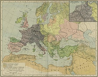 """Borna (duke) - Map showing imperial boundaries in 814, with """"Croatia"""" and """"Dalmatia"""" as tributary to Charlemagne."""