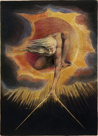 The Ancient of Days (1794) Watercolor etching by William Blake Europe a Prophecy, copy D, object 1 (Bentley 1, Erdman i, Keynes i) British Museum.jpg