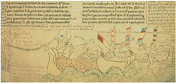 Depiction of the sea battle of Sandwich in the War of the Barons, Chronica majora by Matthew Paris