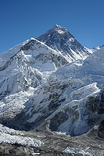 Mount Everest Earths highest mountain, part of the Himalaya between Nepal and Tibet