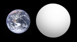 K2-3d - Size comparison between K2-3d (right) and the Earth.