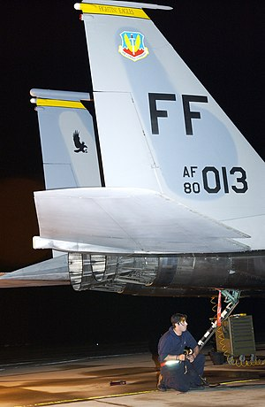 Tailhook - F-15 tailhook. Most USAF tactical jet aircraft have tailhooks for emergency use.