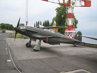 Italian Air Force Museum - Fiat G.55 of ANR (background with lake Bracciano)