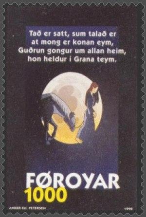 Guðrúnarkviða II - Guðrún has found Sigurd's horse Grani and has understood that Sigurd is dead. Illustration on a Faroese stamp by Anker Eli Petersen.