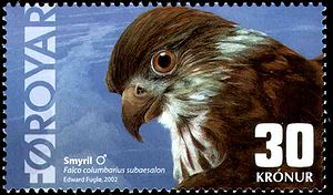 """Postage stamps and postal history of the Faroe Islands - Modern Faroese stamp of 2002, depicting the Merlin. It won the award """"2nd most beautiful stamp in Europe"""" in 2004. Artist: Edward Fuglø."""