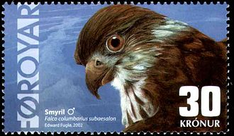 "Postage stamps and postal history of the Faroe Islands - Modern Faroese stamp of 2002, depicting the Merlin. It won the award ""2nd most beautiful stamp in Europe"" in 2004. Artist: Edward Fuglø."