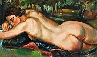 Reclining female nude.