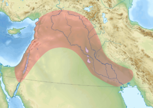 Hilly Flanks - The Hilly Flanks curl around the red area, the Fertile Crescent.
