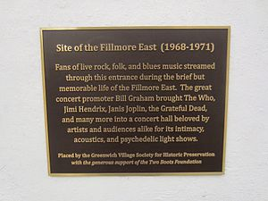 Fillmore East - Unveiled on October 29, 2015 by Greenwich Village Society for Historic Preservation