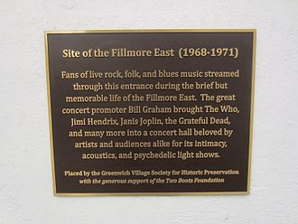 Fillmore East - Unveiled on October 29, 2015, by Greenwich Village Society for Historic Preservation