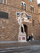Copy standing in the original location of the David, in front of the Palazzo Vecchio, Florence.
