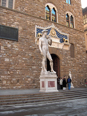 David (Michelangelo) - A replica of David now stands outside the Palazzo Vecchio.