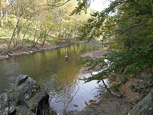 Savage Mill Trail - Many visitors of the Savage Mill Trail utilize the adjacent Little Patuxent River to fish for trout and other species
