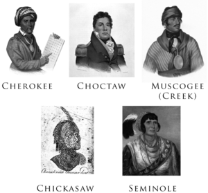 "Five Civilized Tribes - Gallery of the Five Civilized Tribes: Sequoyah (Cherokee), Pushmataha (Choctaw), Selocta (Muscogee/Creek), a ""Characteristic Chicasaw Head"", and Osceola (Seminole). The portraits were drawn or painted between 1775 and 1850."