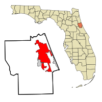 Flagler County Florida Incorporated and Unincorporated areas Palm Coast Highlighted.svg