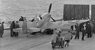 Supermarine Seafire - Seafire during Fleet Air Arm trials aboard HMS Victorious, 23–25 September 1942
