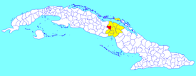 Florencia municipality (red) within  Ciego de Ávila Province (yellow) and Cuba