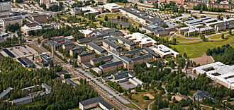 Umeå University - Aerial view of Umeå University Campus with the University Hospital of Umeå to the upper left and the Swedish University of Agricultural Sciences down right. Photo: Bergslagsbild