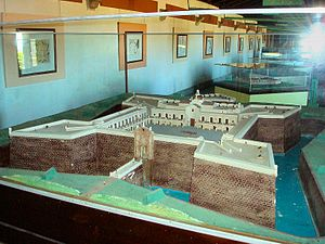 Ciudadela, Montevideo - Replica of the demolished citadel, showing the position of the gateway.