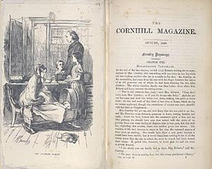 Framley Parsonage - First page (with illustration) of the first appearance of Framley Parsonage in print, in Cornhill Magazine, 1860–1861.