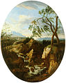 Franz Ignaz Flurer - Krajina s slapom in z lovcema.jpg