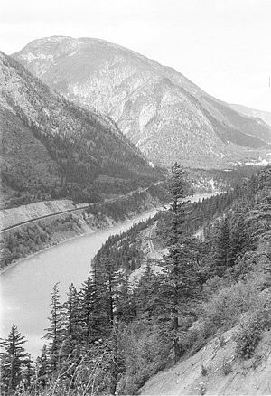Fraser Canyon - View of Fraser Canyon in the area of the Kwioek Creek (the valley coming in at left)