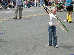 A hula hoop contingent in the 2007 Summer Sols...