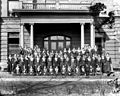 """Freshman class group photo, Faircloth Hall, Meredith College, Raleigh, NC, 1919. Same image appears in the Meredith College """"Oak Leaves"""" yearbook, Vol. 16 MCMXIX. Original glass plate negative is from (8721747356).jpg"""