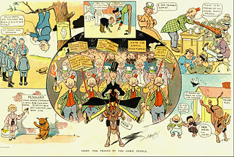 "William Randolph Hearst - Puck magazine published this cartoon in its edition of October 31, 1906. Seen as supporting ""Hoist"" in his bid for governor are Happy Hooligan, Foxy Grandpa, Alphonse and Gaston, Buster Brown, The Katzenjammer Kids, and Maud the mule.  All of these comic strips ran in newspapers owned by Hearst."