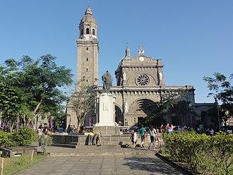 Manila Cathedral - Façade from Plaza de Roma