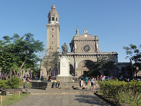 Colonial Cathedral of Manila, in the Philippines Front view of The Cathedral in Intramuros, Manila.jpg