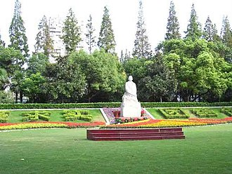 Shanghai Medical College - East Campus of the Medical College with a statue of founder Dr. Yan Fuqing