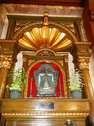 Our Lady of Solitude - Nuestra Señora de la Soledad, enshrined in the parish church of San Isidro, Nueva Ecija, Philippines.