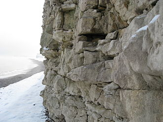 Cliffs of Sangstrup - The cliffs originate from a 65 million year old coral reef, and appear as rocky cliffs of lime and flint along the coast