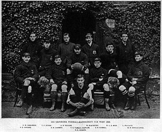 Oxford University A.F.C. - Oxford University AFC before travelling to Austria 1899 . Morgan Maddox Morgan-Owen, seated, bottom right.