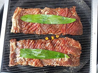 <i>Galbi</i> Dish of grilled beef or pork ribs in Korean cuisine