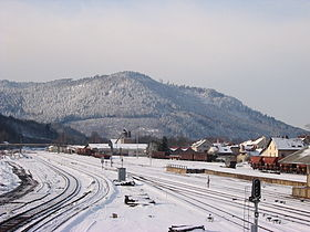 Vue de la montagne depuis la gare de Saint-Dié.