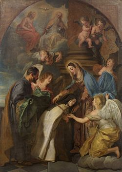 Gaspar de Crayer - St Theresa receiving a gold chain and a mantle embroidered with gold from the Virgin.jpg