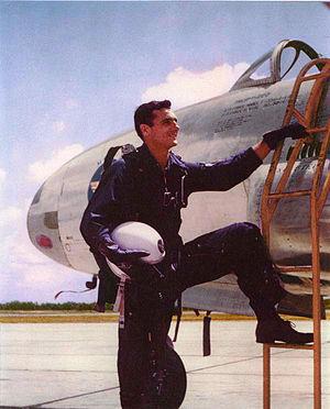 Felix Moncla - Lt. Gene Moncla by T-33 at Truax Field in Madison, Wi.