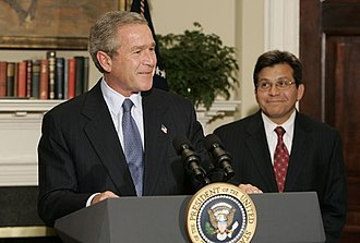 Alberto Gonzales - U.S. President George W. Bush announces his nomination of Gonzales to succeed Ashcroft as the next Attorney General during a press conference in the Roosevelt Room Wednesday, November 10, 2004.