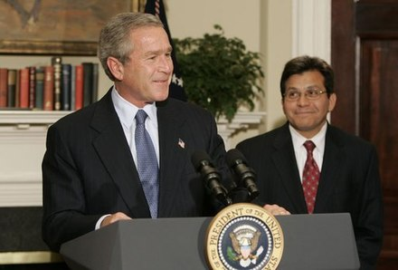 President Bush announcing his nomination of Alberto Gonzales as the next U.S. Attorney General, November 10, 2004 George W Bush and Alberto Gonzales.jpg