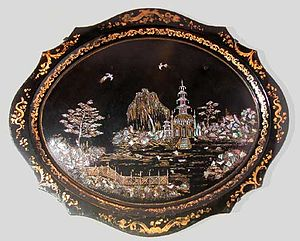 George Wallis -  Japanned tray of 'Victoria' shape. 1850s