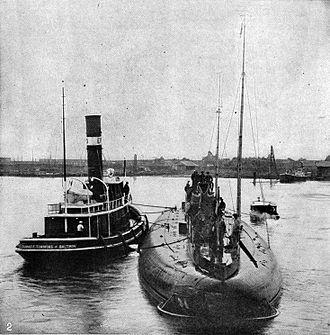 German submarine Deutschland - Deutschland at New London, Connecticut, November 1916, in an image from the New International Encyclopedia